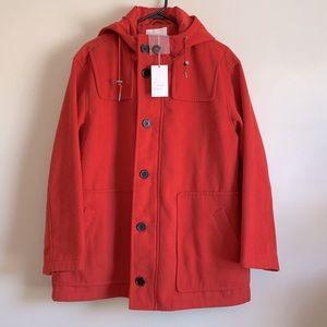 NEW Women's Large Duffle Zipper Pea Coat w/ Hood